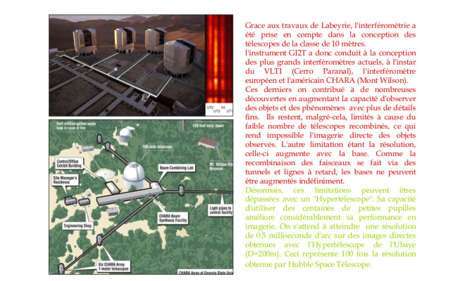 1 – Antoine Labeyrie et l'Interférométrie – Le VLTI